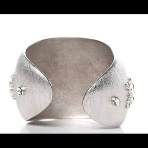 CHANEL Jewelry - Chanel Brushed Textured Silver CC Cuff